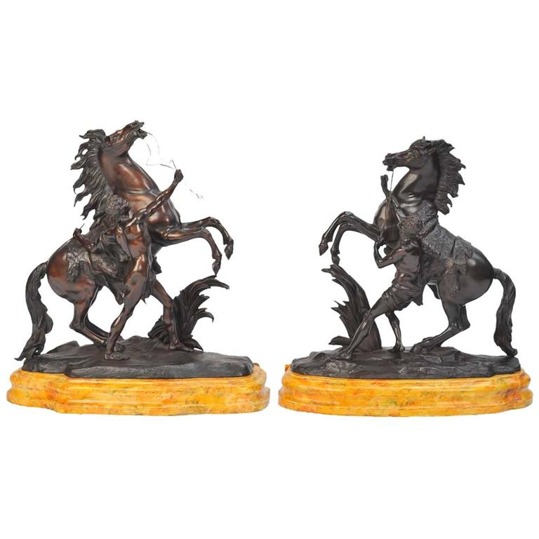 Pair of Large 19th Century Bronze Marley Horses on Stands For Sale