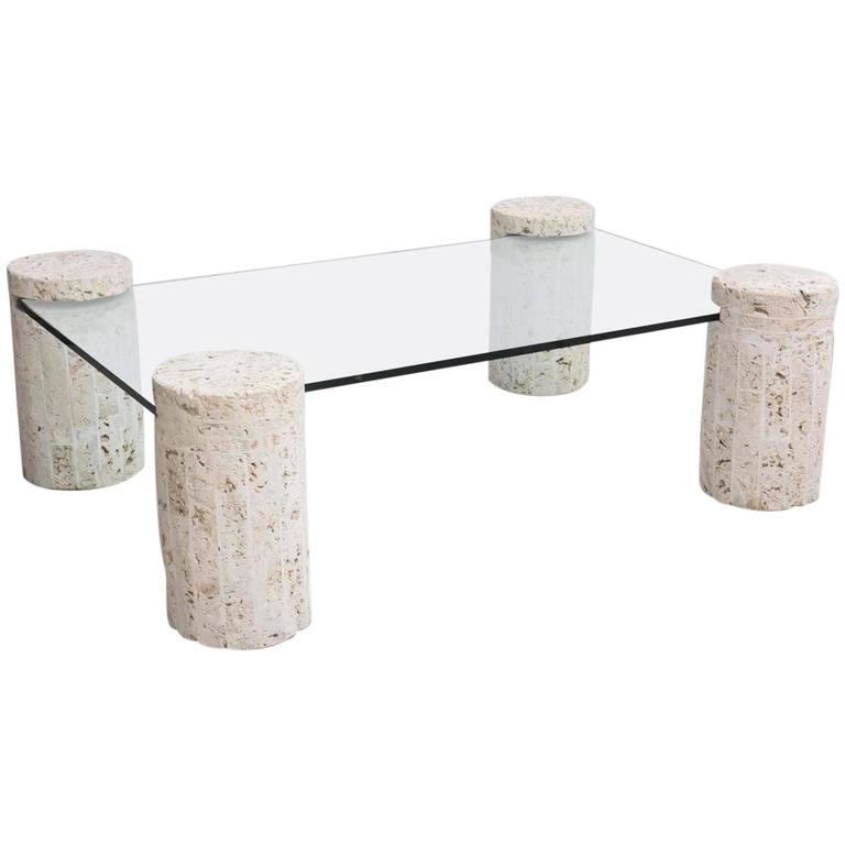 Coral Stone Coffee Table With Glass Top For Sale At 1stdibs