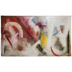 Abstract Painting on Board Signed Mari Revoltella
