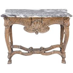 18th Century Bleached Walnut Console with Marble Top