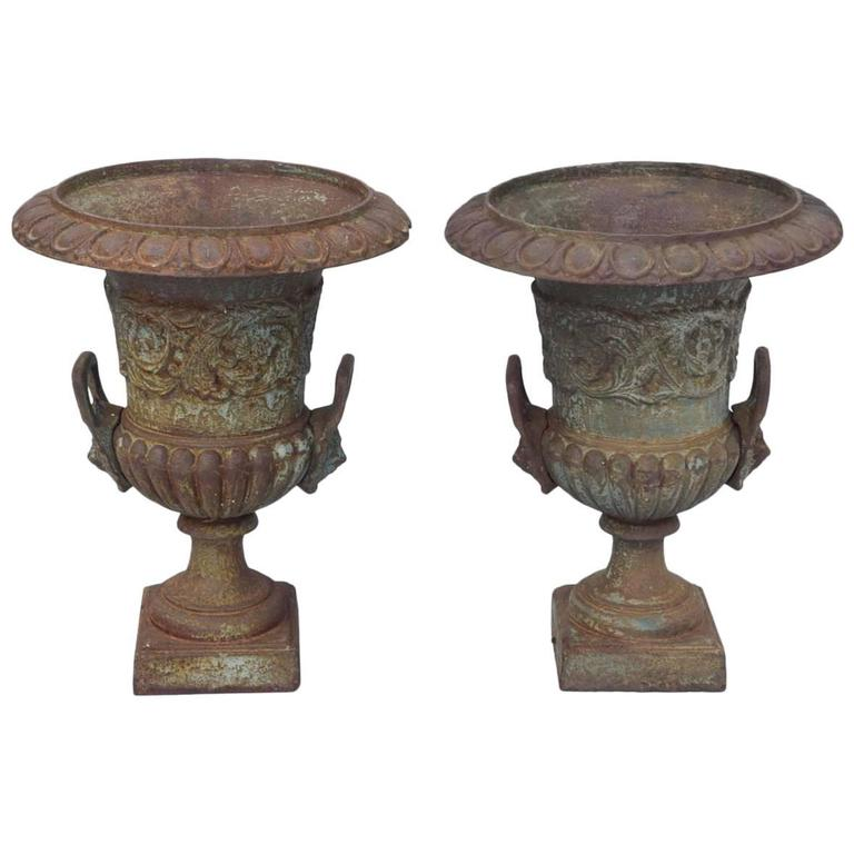 Pair of 19th Century French Iron Garden Urns
