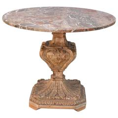 Carved Italian Center Table with Marble Top, circa 1920s