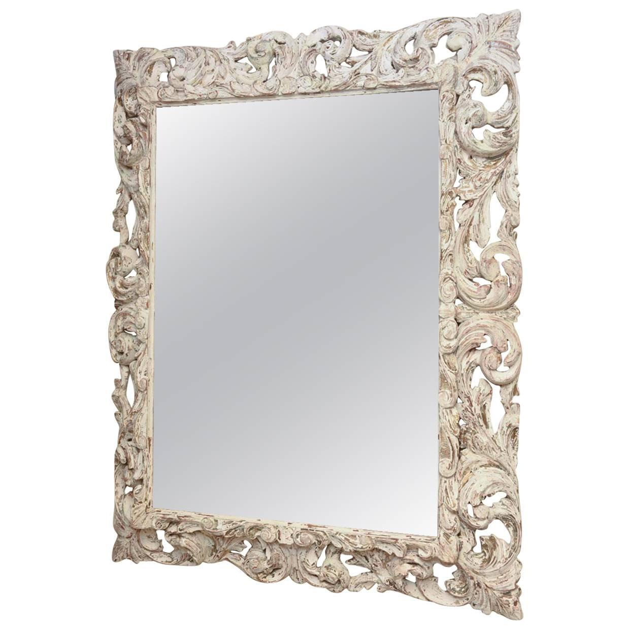 18th Century Foliate-Carved Wood Mirror Frame For Sale at 1stdibs
