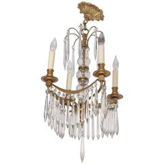 19th Century Louis XVI, Gustavin Style Four-Light Bronze and Crystal Chandelier