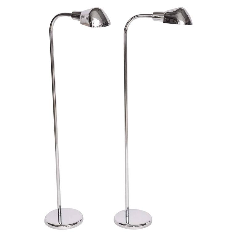Pair of American Art Deco Style Aluminum and Chrome Metal Floor Lamps, 1960s