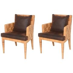 "Pair of Angelo Donghia ""Block Island"" Woven Rattan Armchairs"