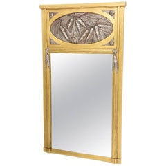 French Art Deco Trumeau Mirror in Gold and Silver Leaf
