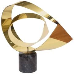 Larger Scale Polished Brass and Marble Sculpture by Curtis Jere, 1970s