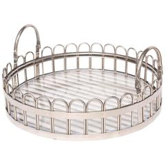 Godinger Silver-Plated Round Serving Tray with Lucite Inset, 20th Century
