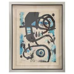 1960s, Joan Miro Lithograph 20/375, Pencil Signed and Embossed