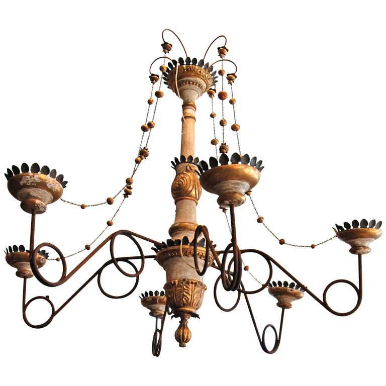 Belle Epoch Wooden and Tole Italian Chandelier For Sale