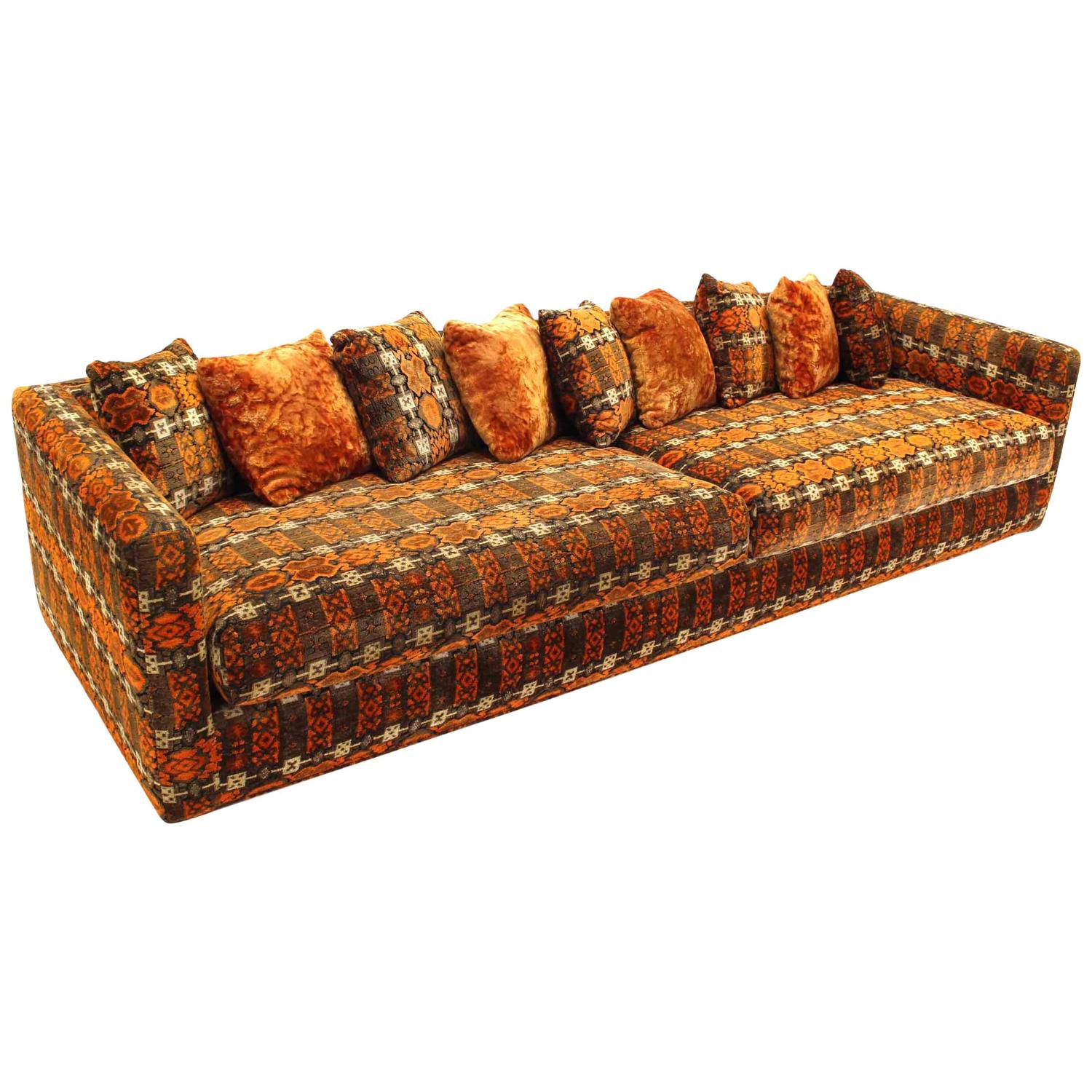 Extra long mid century modern sofa for sale at 1stdibs for Long couches for sale