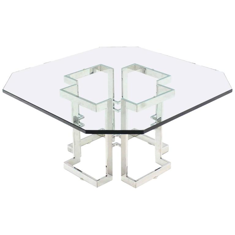 Square Chrome Base Glass Top Coffee Table For Sale At Stdibs - Chrome base glass top coffee table