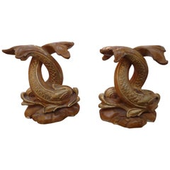 Smashing Pair of Carved Giltwood Chinese Style Dolphin Statues