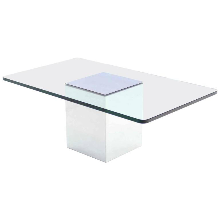 Polished steel cube shape base rectangle glass top coffee for Rectangular coffee table with glass top