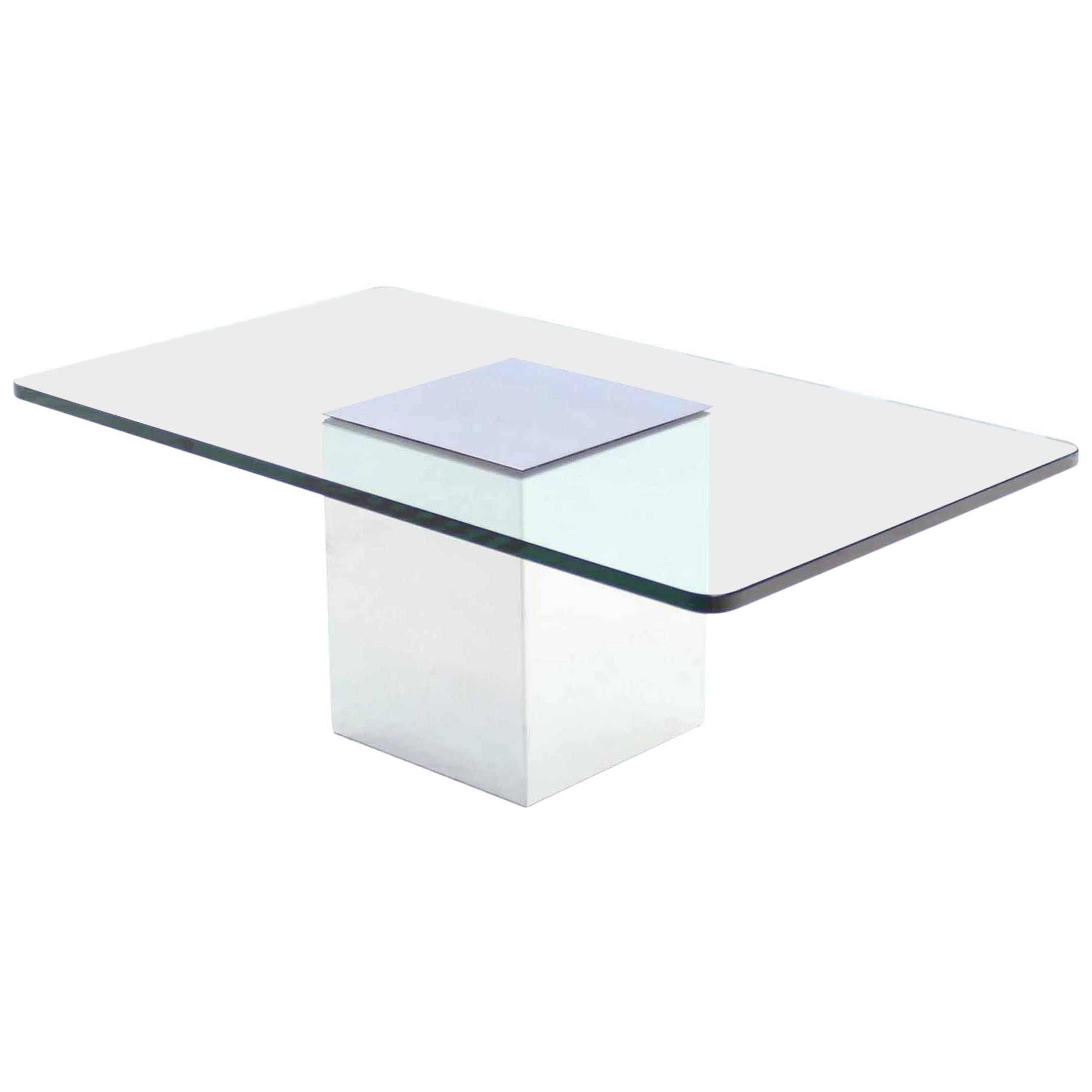 Polished Steel Cube Shape Base Rectangle Glass Top Coffee Table For