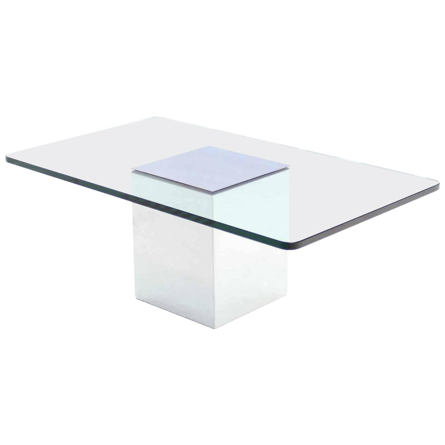 Polished steel base glass top coffee table for sale at 1stdibs Glass coffee table base