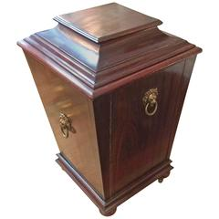 Rare Diminutive Antique English Mahogany Cellarette Wine Cooler
