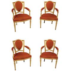 Set of Four Gustavian Armchairs