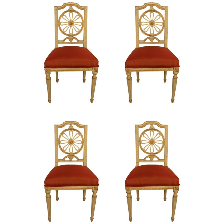 Set of Four Gustavian Chairs For Sale