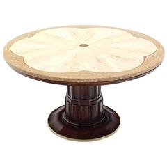 Brass Inlay Marble Decorative Marble Top Round Game or Center Table