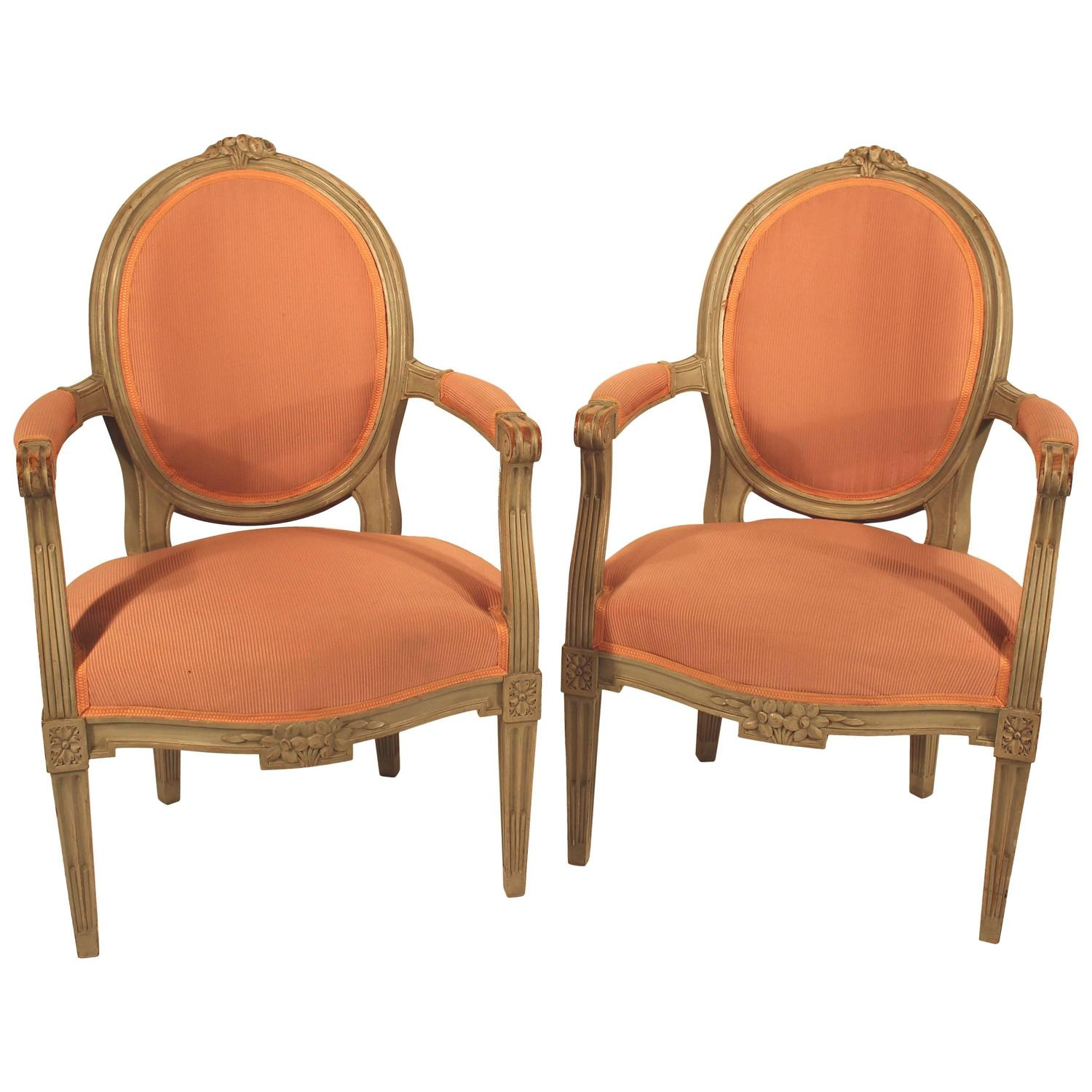 pair of french louis xvi style fauteuils for sale at 1stdibs. Black Bedroom Furniture Sets. Home Design Ideas