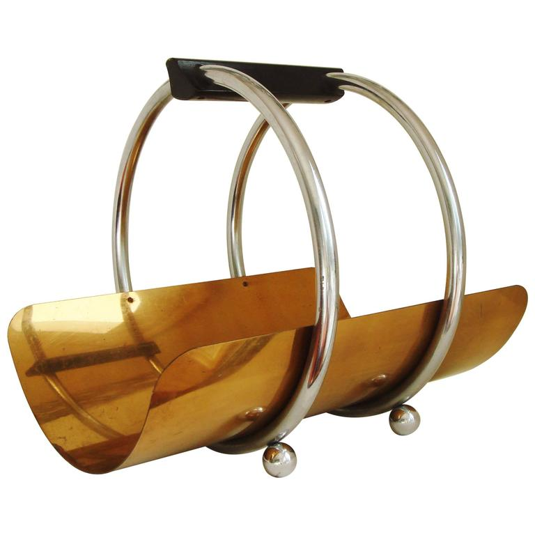 Art Deco Log Basket : American art deco chrome bronze and wood log holder