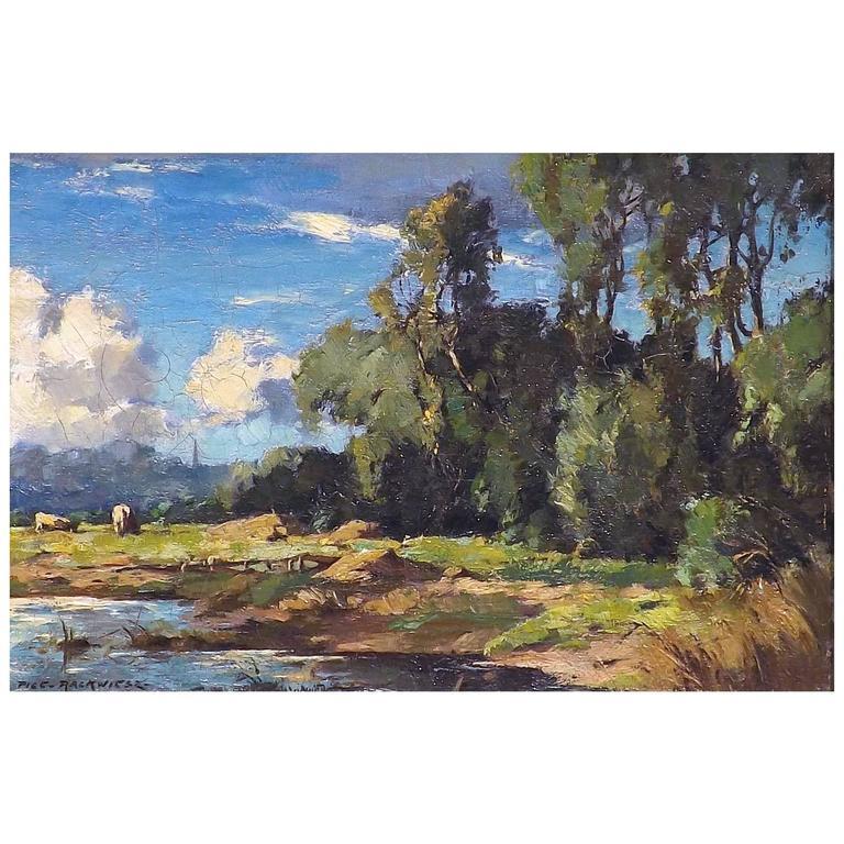 'California Sky' Oil Painting by Piet Rackwitsz, 1930s