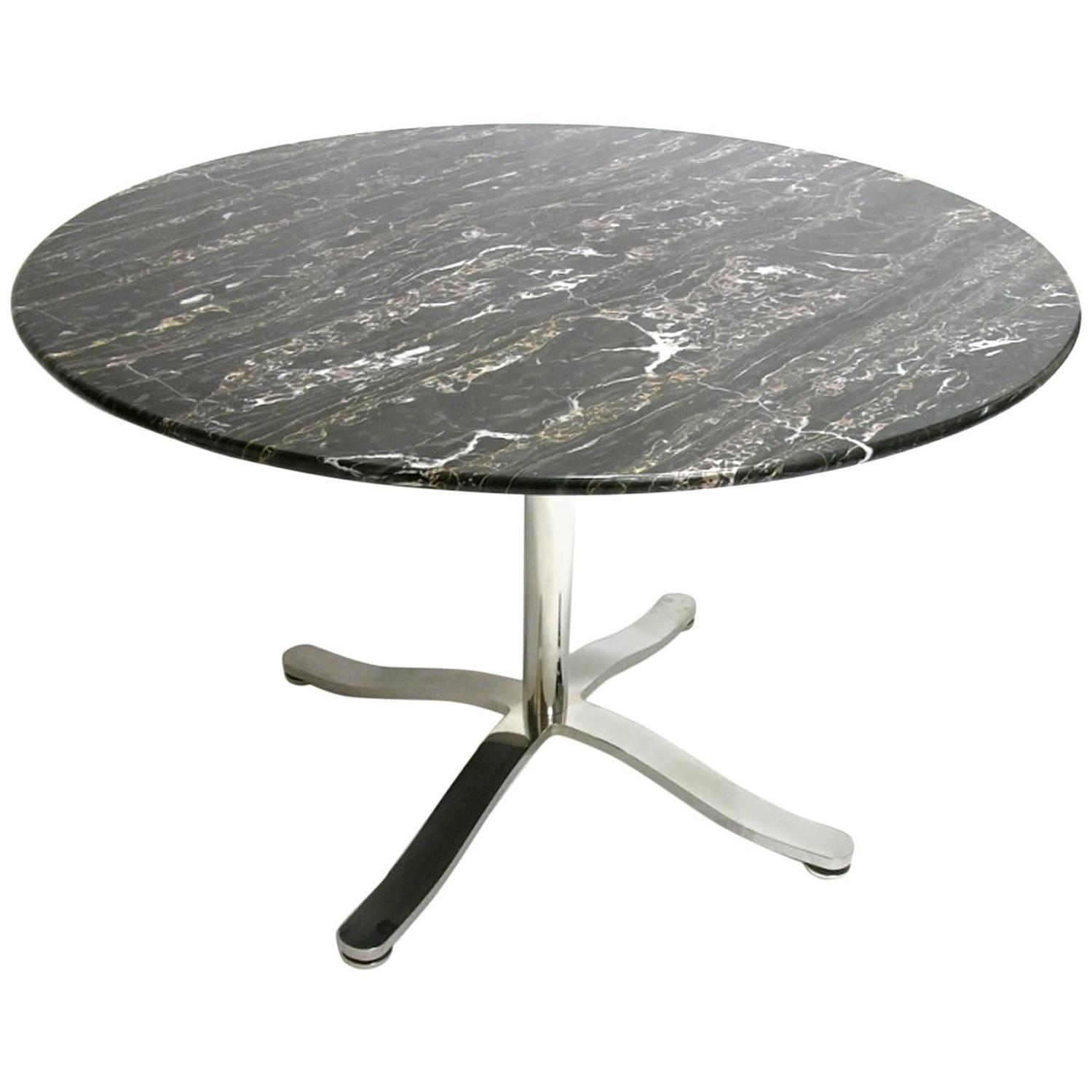 Nicos Zographos Alpha Pedestal Table With Stunning Black Marble Top