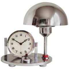 German Art Deco Chrome & Red Galalith Mechanical Alarm Clock & Adjustable Lamp