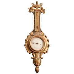 French 18th Century Gold Leaf Barometer