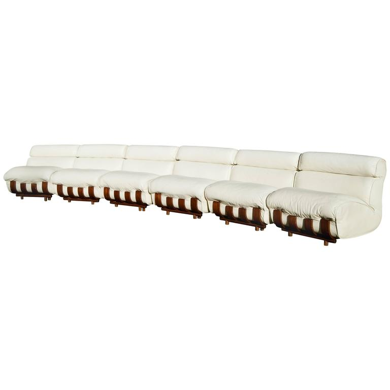 Luciano Frigerio White Leather Sectional Sofa and Ottomans For Sale ...