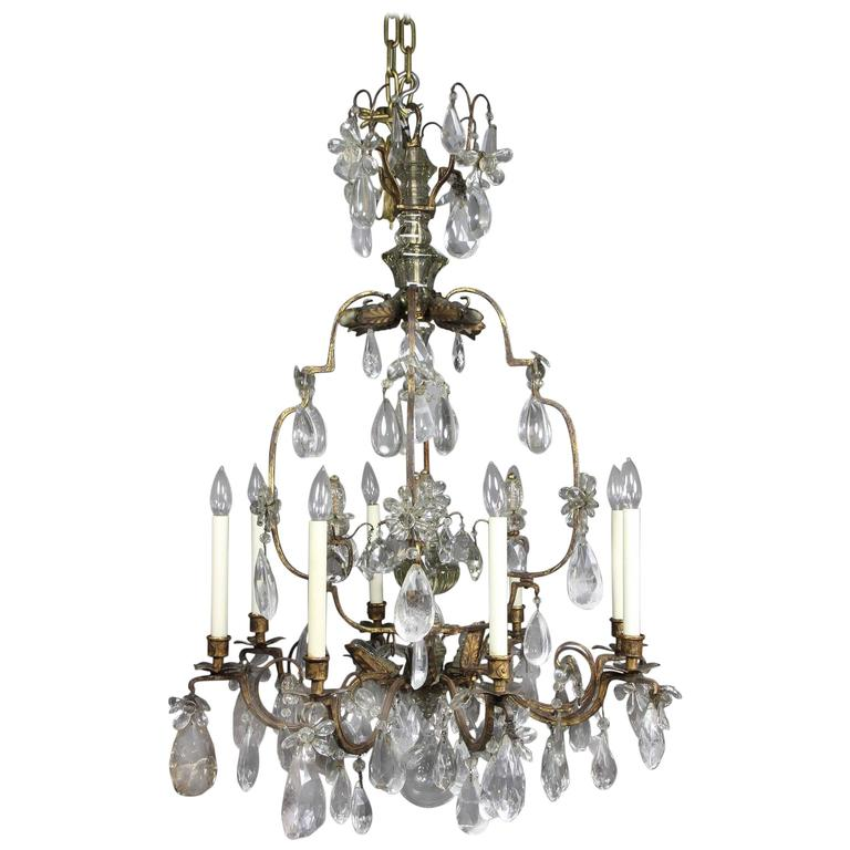 Louis XV Gilded Wrought Iron and Rock Crystal Chandelier