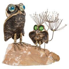 Vintage Owl Sculpture by Curtis Jere