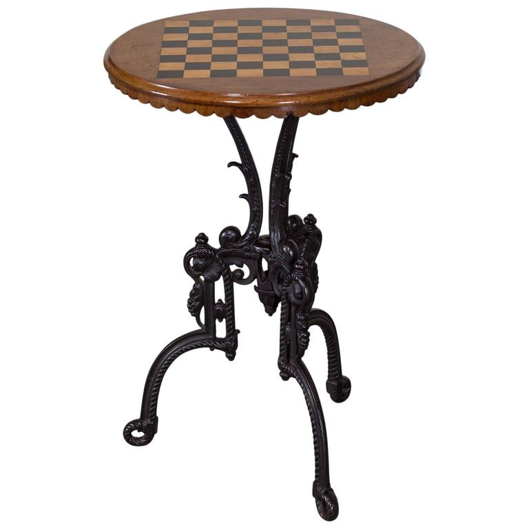 Antique French Chess Board Top Iron Table, Circa 1880 1