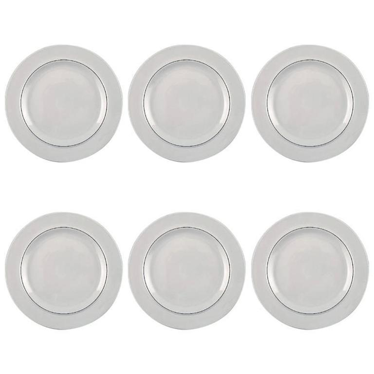 Four Lunch Plates, Aluminia Blue Line, Earthenware For Sale