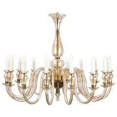 Vintage Sixteen-Branch Murano Amber Glass Chandelier