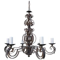 Six-Light Spanish Wrought Iron Chandelier