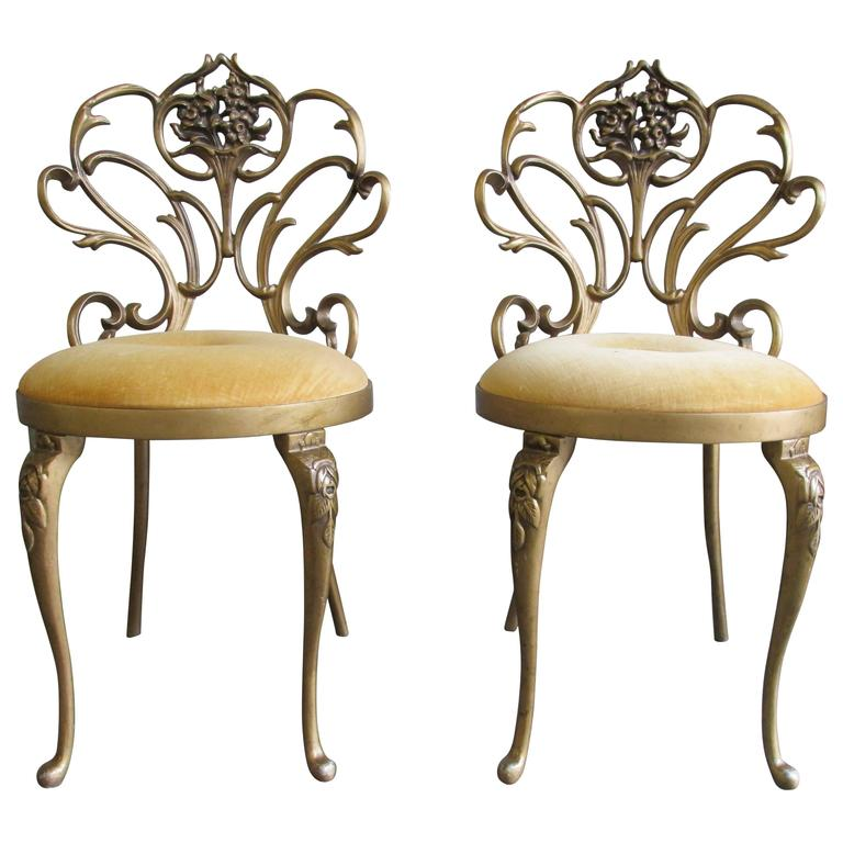 Elegant Pair Of Cast Iron Hollywood Regency Chairs 1