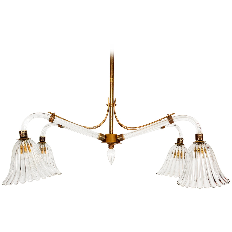 Mid Century Modern Murano Hanging Chandelier