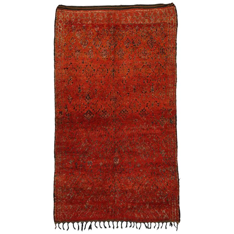 Mid Century Modern Style Red Berber Moroccan Rug With: Mid-Century Modern Berber Moroccan Rug In Red And Orange