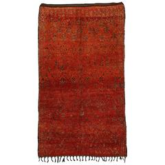 Mid-Century Modern Berber Moroccan Rug in Red and Orange with Tribal Flair