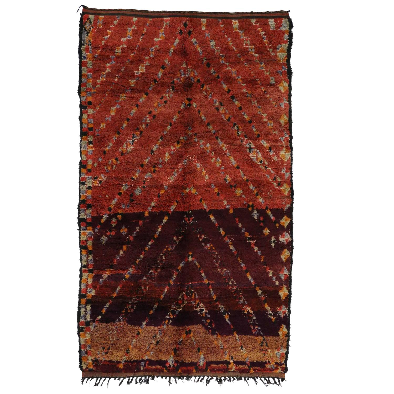 Mid Century Modern Style Red Berber Moroccan Rug With: Berber Moroccan Rug With Tribal Design, Mid-Century Modern