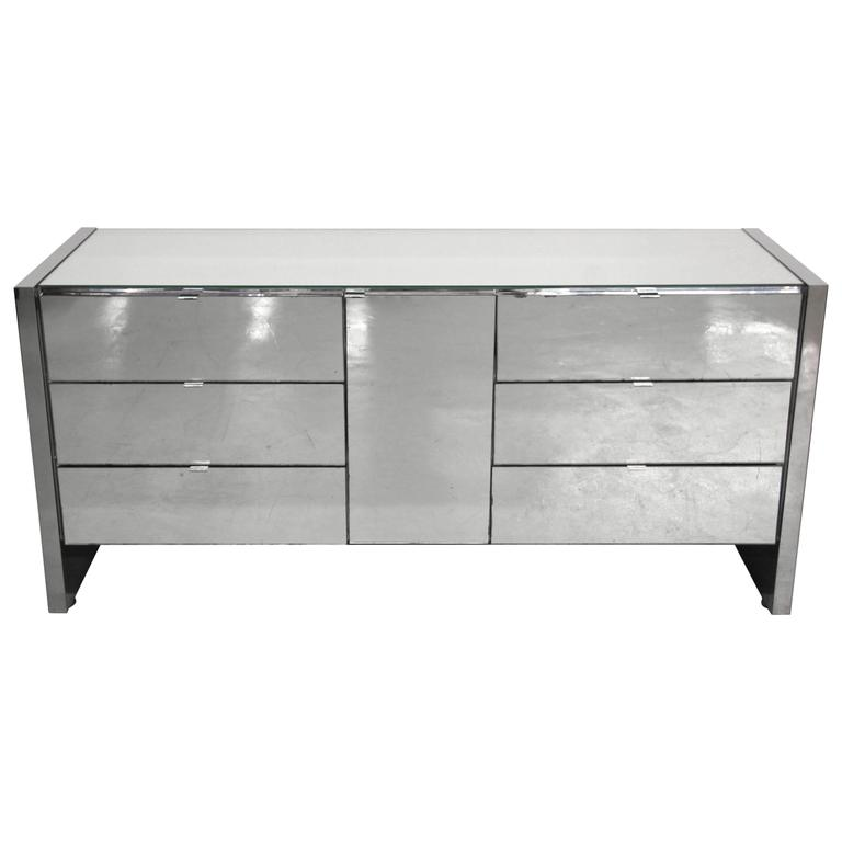 Charming Regency Style Mid Century Mirrored Dresser Credenza By Ello Furniture For  Sale