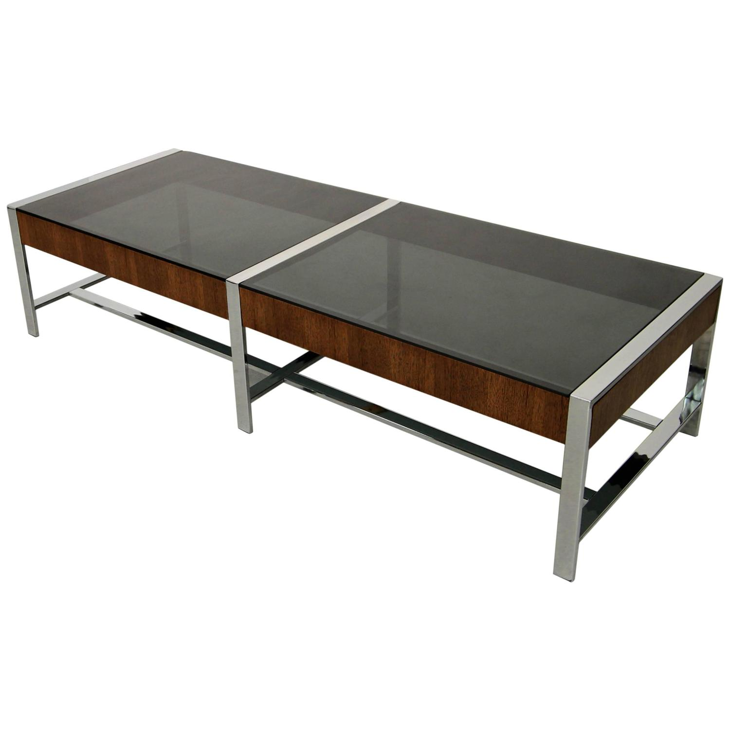 Mid century modern chrome and smoked glass coffee table at for Mid century modern coffee table