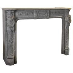 Large Antique Richly Sculpted Belgian Bluestone Mantelpiece
