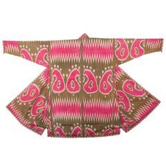 Late 19th Century, Pure Silk Uzbek Ikat Chapan