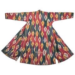 19th Century, Uzbek Silk and Cotton 'Silk Warp, Cotton Weft' Ikat Coat, Chapan