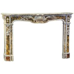 Exeptional Antique French Carrara and Siena Marble Inlaid Mantel Piece