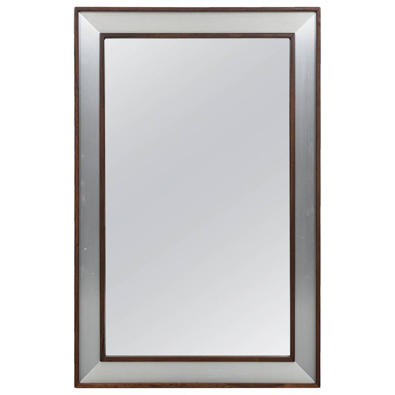 Large Rosewood Mirror With Aluminium Frame For Sale At 1stdibs